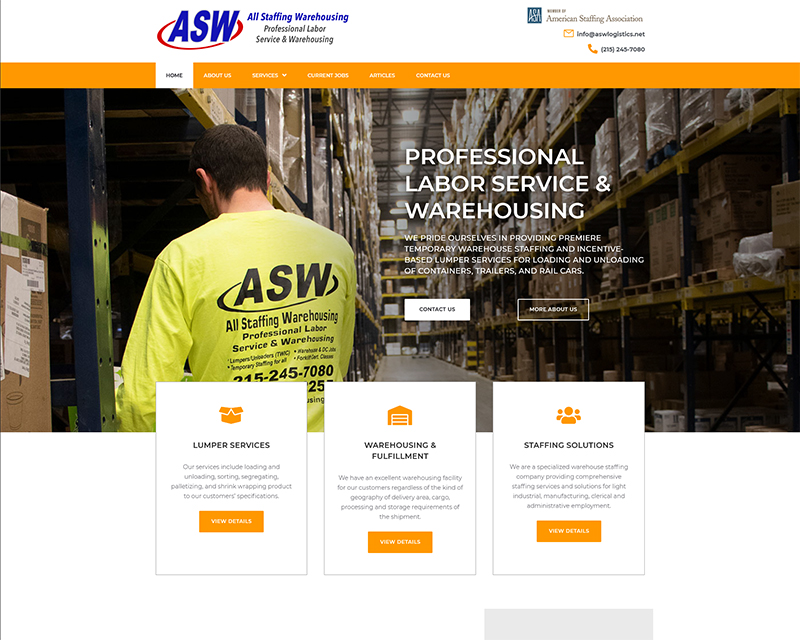 design industrial website development warehouse distribution companies